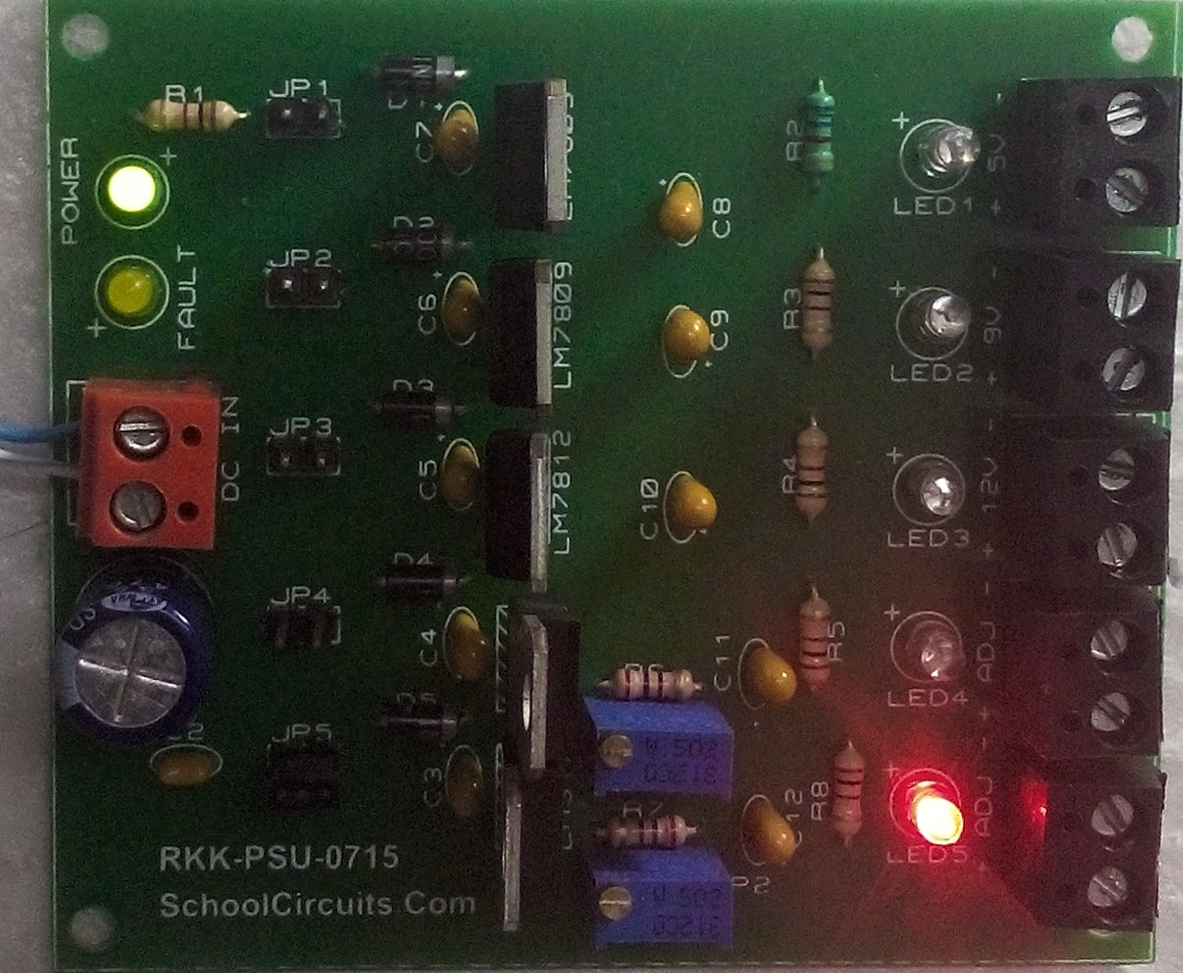 5 In 1 Power Supply Unit Lm317 7805 7809 7812 Bench Project 9 V Regulator Using Volrage Circuit Board